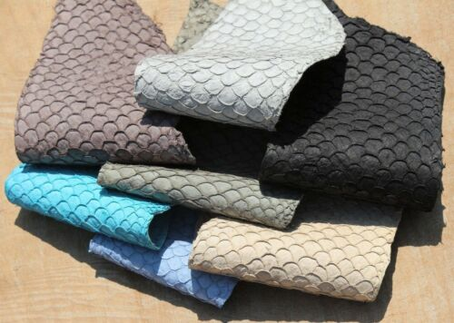 Veg Tan Asia Carp Fish Skin Hide Leather Craft Supply 8 colors