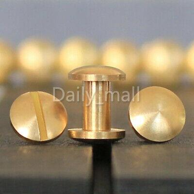 "Pure brass Chicago Screws Studs Book Leather craft binding 8x4 mm 5//16/""x 5//32/"""