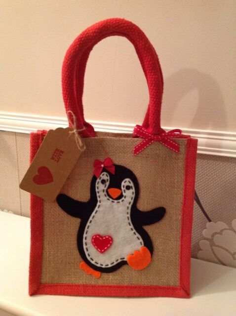 Natural Jute Hessian Red Trim Small Lunch/Present/Gift Bag. Penguin Motif.