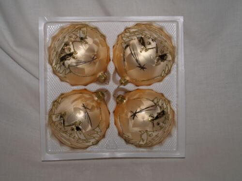 Décorations de Noël 10 cm Balle Golden Dreams 4 Pièce//BOX MUNDGEBLASEN