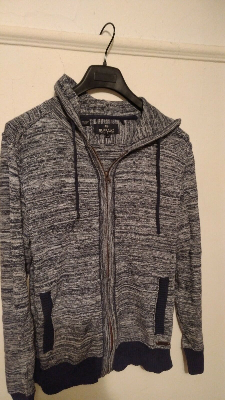 Buffalo David Bitton   Full Zip Up Sweater Hoodie (bluee) in Men's Size L   Large