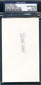 Dutch-Clark-Psa-dna-Coa-Original-Hand-Signed-3x5-Index-Card-Authentic-Autograph