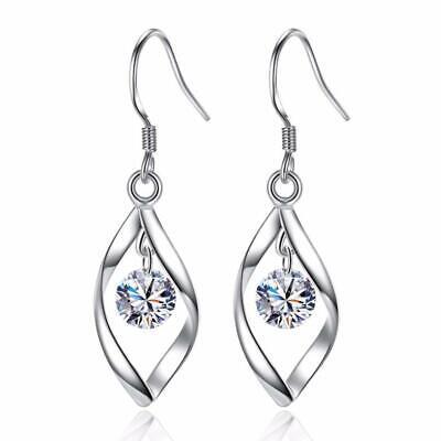 Womens Crystal Stud Earrings  Sterling Silver Plated Swirl Round Studs Jewellery