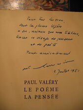 """Willy-Paul Romain """"Paul Valéry : Le poème, la pensée DEDICACE 1951 1/6 nominatif"""
