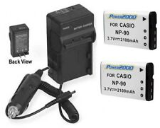 TWO 2 NP-90 Batteries + Charger for Casio EX-FH100 EX-FH100BK EX-H10 EX-H10BK