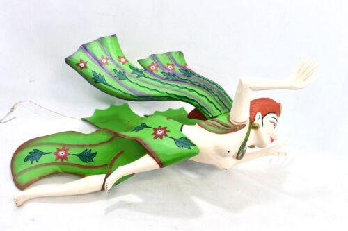Balinese Winged Dewi Sri Mobile Spiritchaser Goddess carved wood Bali Art Green