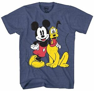 Mickey-Mouse-Pluto-Distressed-Disney-Disneyland-Adult-Mens-Graphic-T-shirt-Tee