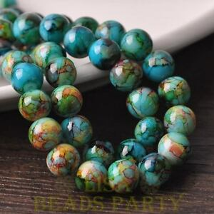 New-15pcs-10mm-Round-Glass-With-Color-Coated-Loose-Spacer-Beads-Green-amp-Blue