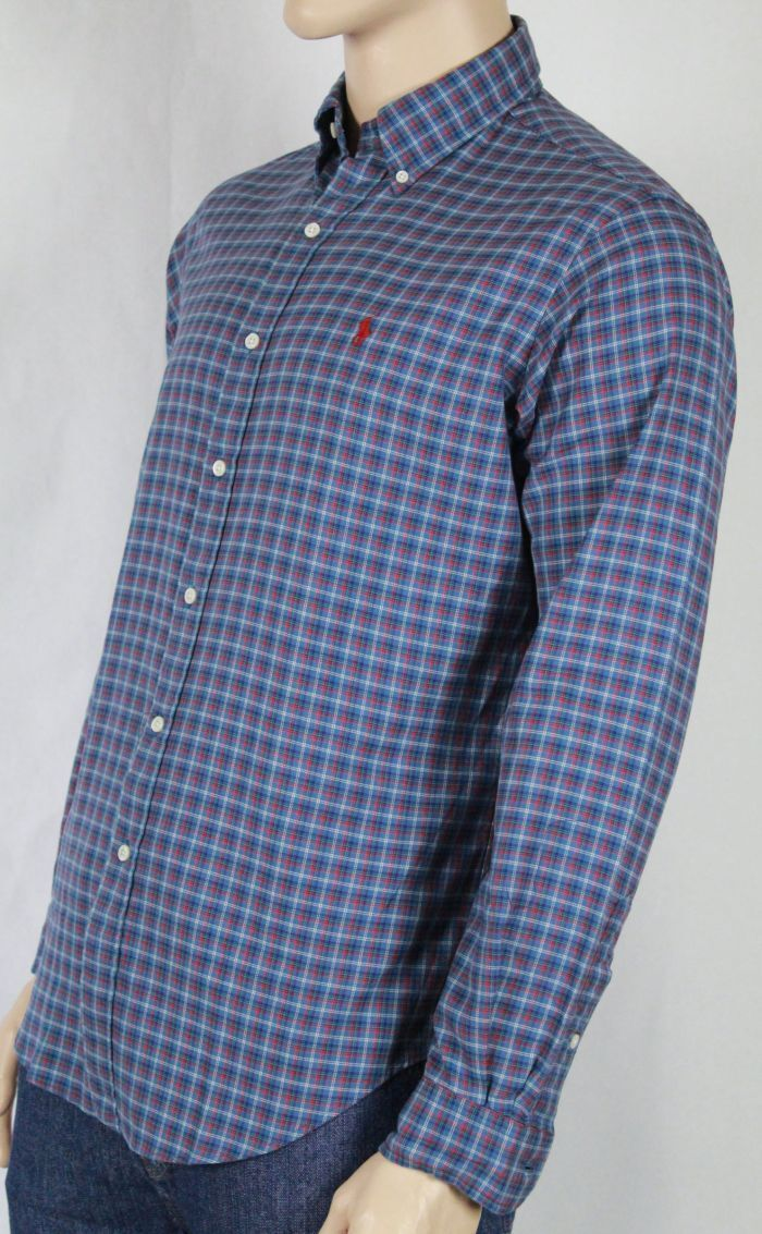 POLO Ralph Lauren bluee Red Classic Dress Shirt NWT