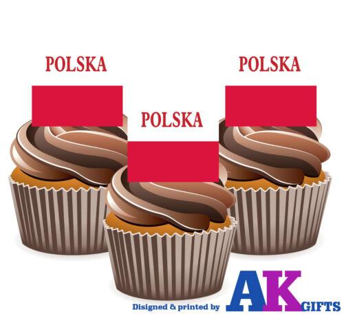 Poland Polish Polska Flag 12 Edible Wafer Cake Toppers Decorations Celebrations