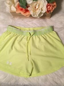 UNDER-ARMOUR-Womens-Neon-Yellow-Shorts-Heat-Gear-Fitness-Running-XS-Loose-Fit