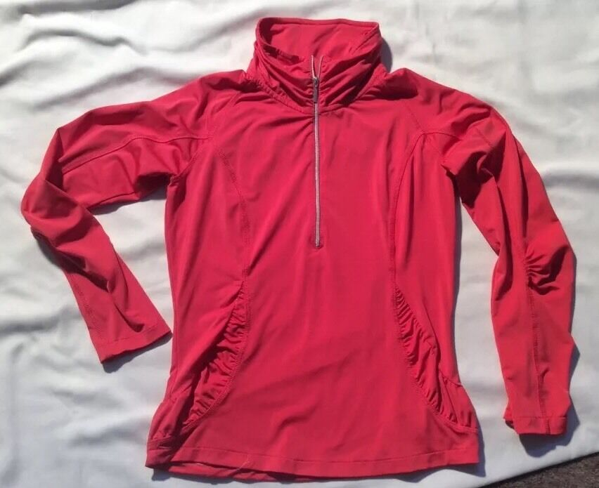 SUNICE Women's Qtr  zip s p Long Sleeved Coral Top