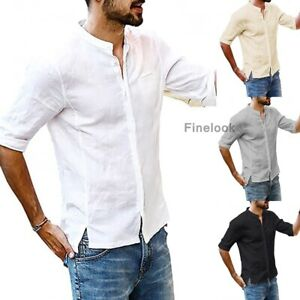 Summer-Men-039-s-Linen-Mid-Sleeve-Shirt-Cool-Loose-Casual-V-Neck-Shirts-Tops-M-3XL