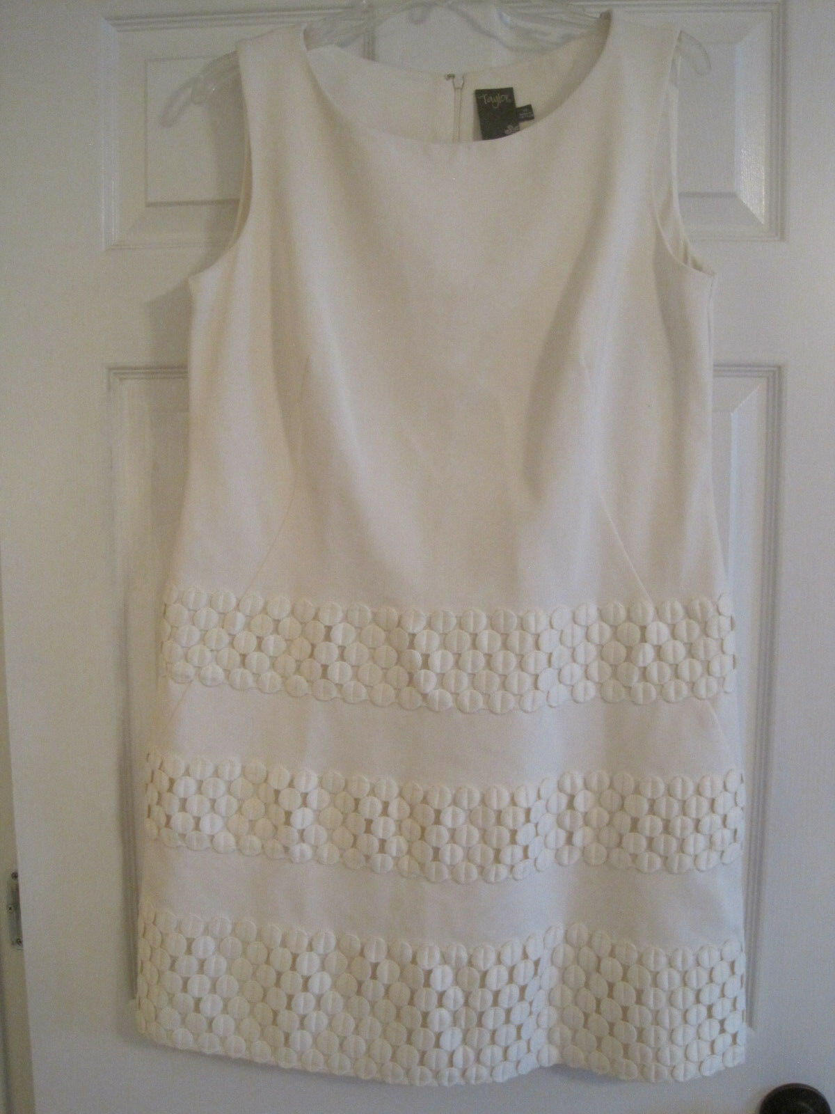 TAYLOR IVORY APPLIQUE DOTS SLEEVELESS DRESS 14 NWT