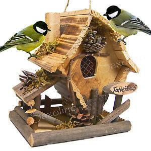 holz vogelhaus futterhaus mit futtersilo natur retro handgearbeitet neu ebay. Black Bedroom Furniture Sets. Home Design Ideas