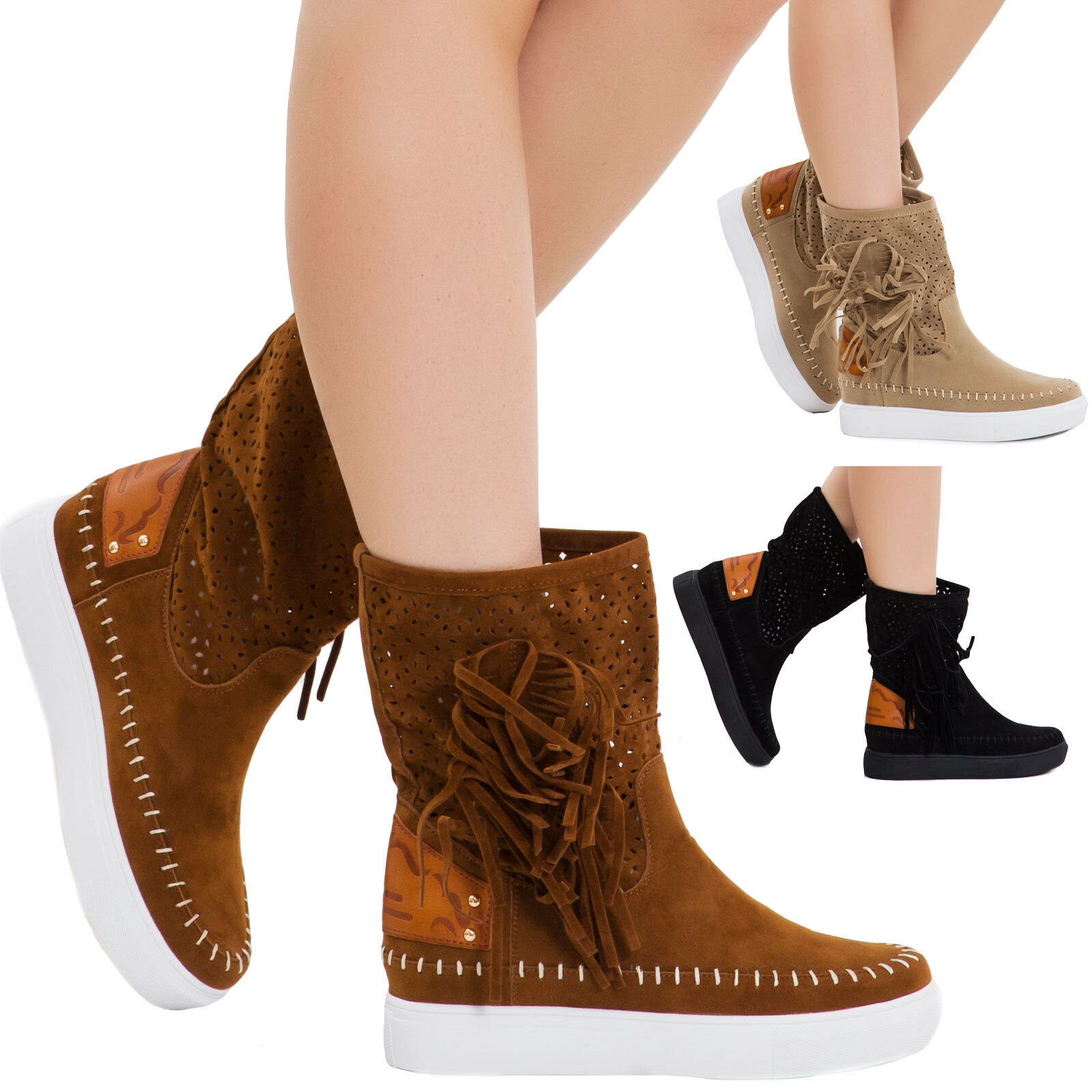 Women's boots shoes indianini perforated fringes wedge suede M9AX16051