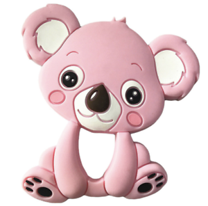 1X pink koala BPA-Free Silicone Baby Teether Chew Beads Necklace Pendants
