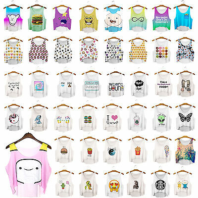 womens/girls tank top blouse T-shirt catoon emoji print loose casual stretchy