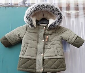 9ce606f71 Details about Boys coat 3-6 months padded parka fleecy. lined, zip,  poppers.Winter coat hooded