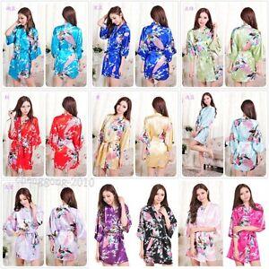 2016 NEW Bridesmaid Peacock Kimono Robe Wedding Women Satin Silk Sleepwear a++