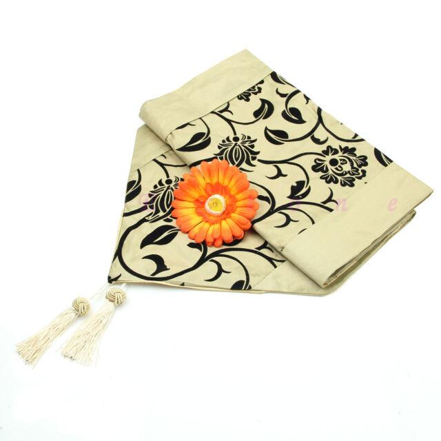 """Wedding Decor Raised Flower Blossom Flocked Damask Table Runner Cloth 78""""X12"""""""