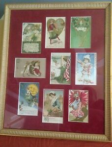 Framed-Vintage-Postcards-Depicting-9-Holidays-18x22-inches-Red-Suede-Mat