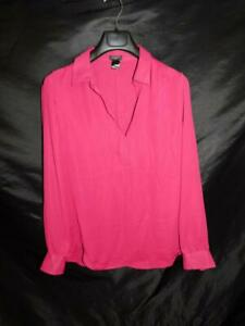 Ann-Taylor-XL-Red-Shirt-Long-Sleeve-V-Neck-Hi-Low-Hem-Top
