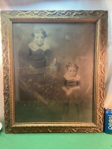 Vtg Antique ORNATE Victorian Wood Frame Siblings Photo 20x16 Print Garden Gate