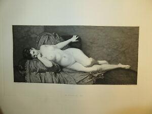 Saro CUCINOTTA (1830-1871) GRAVURE FEMME NUE COUCHEE ITALIA MESSINA SICILIA 1870