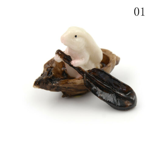 Rabbit Boating Animal Miniature Fairy Home Garden Decoration Landscaping DIY DSU