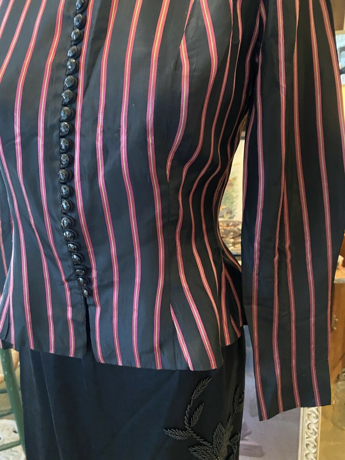 Vintage Rare Ceil Chapman  satin  stripe Fitted A… - image 6