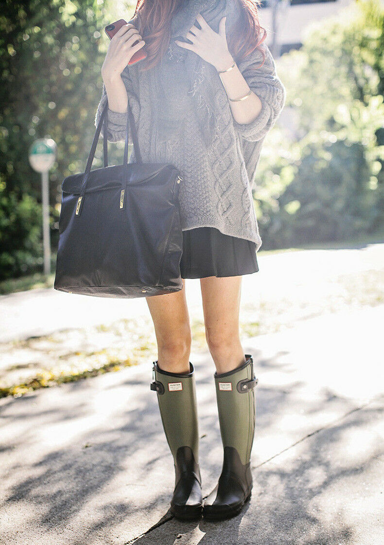 Hunter Limited Rag & Bone Black-Green 2-Tone Rubber Rubber 2-Tone Rain Zipper Boots US 8 eed465