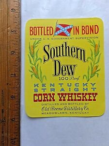 Vintage SOUTHERN DEW Kentucky Straight Bourbon Whiskey 1950/'s Label yellow med.