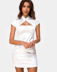 MOTEL-ROCKS-Tuli-Mini-Dress-in-Spandex-Ivory-XS-mr80