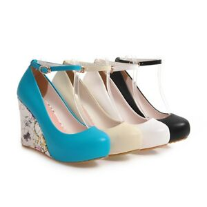 Ladies-Shoes-Synthetic-Leather-Wedge-High-Heels-Ankle-Strap-Pumps-AU-Size-S317