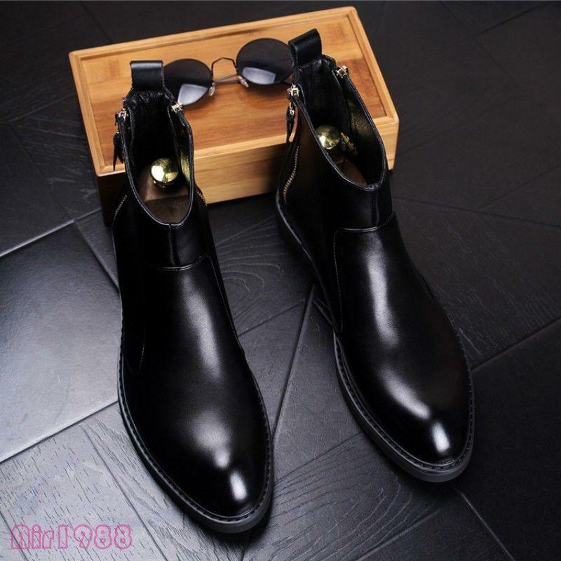 Fashion Mens Pu Leather Ankle Boots Fall Winter Chelsea Boots British New Europe
