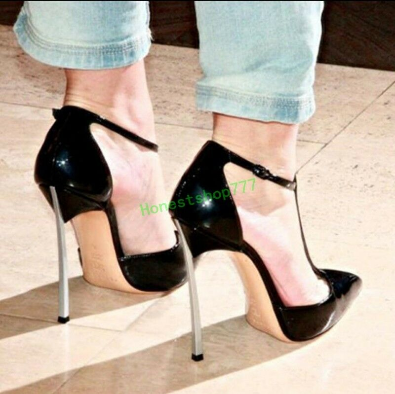 Show femmes Patent Leather DJ Pointy Toe T-Strap Metal High Stiletto Pump chaussures