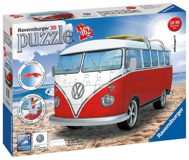 Ravensburger 12516 162 Numbered Plastic Puzzle Pieces VW Bus 3D Puzzle - Multi