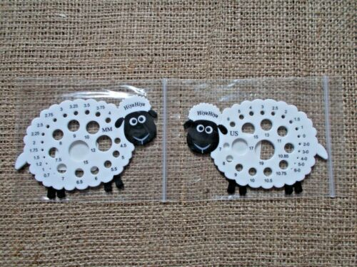 Metric /& US HiyaHiya Sheep Knitting Needle Gauge