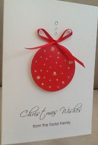 6 in sq Baby//Child Christmas card Hand made personalised Xmas Bauble