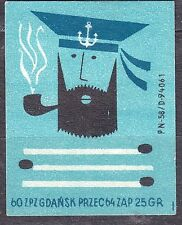 POLAND 1960 Matchbox Label - Cat.Z#565 A. Sailor with a pipe, three matches.