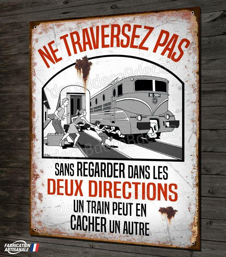 Photo 1 - Plaque métal déco 40x30cm un train peut en cacher un autre panneau vintage SNCF