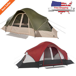 8-Person-2-Rooms-Outdoor-Tent-Camping-Family-Cabin-Shelter-Hiking-w-Mud-Mat