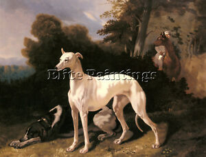 DREUX-ALFRED-GREYHOUND-EXTENSIVE-LANDSCAPE-ARTIST-PAINTING-OIL-CANVAS-REPRO-DECO