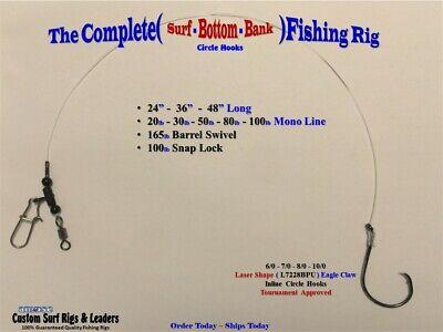 5 80# Surf Pier Bottom Fishing Rigs CHOOSE HOOK Striper Catfish Red Drum Bass