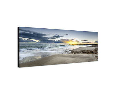 120x40cm Bournemouth Panorama Strand Südengland Küste Rahmen Leinwand Bild Sinus