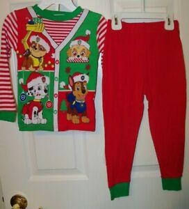Paw-Patrol-Christmas-Red-Stripe-Toddler-2-Piece-Long-Pajama-PJ-Size-2T-NWT