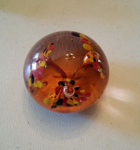 020 Vintage Glass Round Paperweight Funky Antique