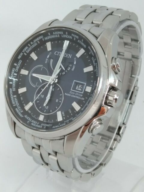 Citizen EcoDrive AT9030-80L Men's 44mm Atomic World Time Blue Dial S/Steel Watch