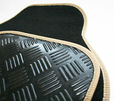 Black 650g Carpet & Beige Trim Car Mats with Rubber Heel Pad for Fiat 500 07-12
